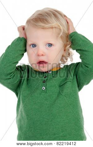 Cute baby worried isolated on a white background