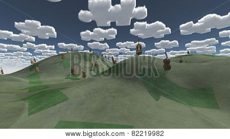 Question clouds over surreal landscape