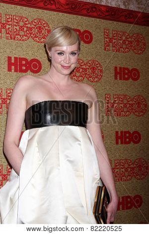 LOS ANGELES - JAN 12:  Gwendoline Christie at the HBO 2014 Golden Globe Party  at Beverly Hilton Hotel on January 12, 2014 in Beverly Hills, CA