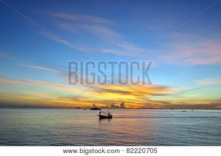 ocean blue sky and sunrise