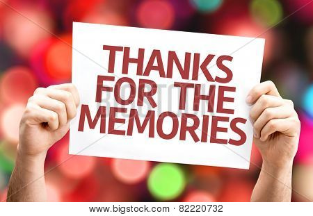 Thanks for the Memories card with colorful background with defocused lights