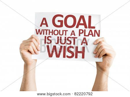 A Goal without a Plan is Just a Wish card isolated on white background