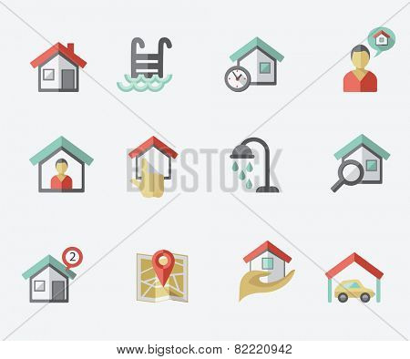 Real estate icons, flat design