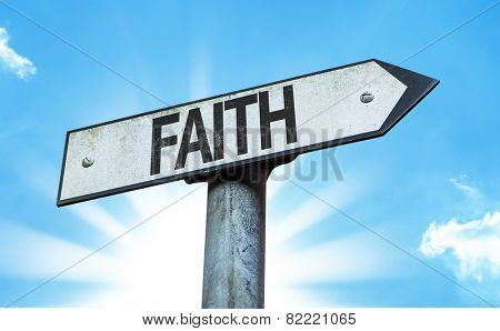 Faith sign with a beautiful day