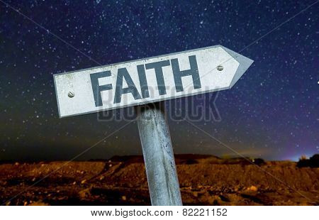Faith sign with a beautiful night background