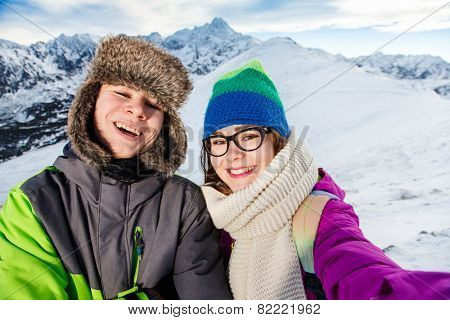 Winter vacation - teens in mountain