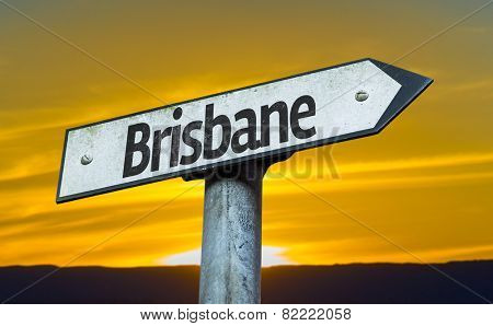 Brisbane sign with a sunset background