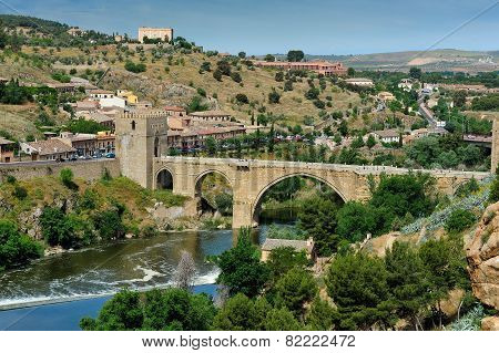 Tajo River And The Alcantara Bridge, Toledo, Spain