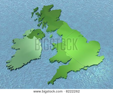 A 3D map of United Kingdom on the sea