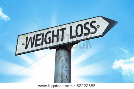 Weight Loss sign with a beautiful day