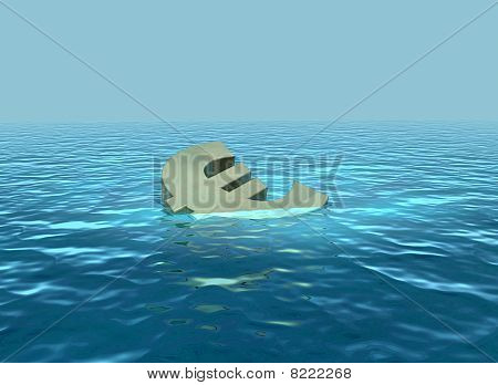 A 3D render of euro symbol sinking or wallowing