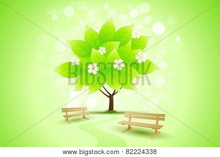 Abstract Green Tree Background With Flowers