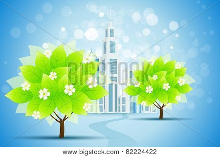 Blue Background With Business City And Trees