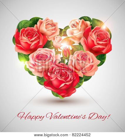 Valentine card with roses heart. Vector eps 10.