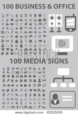 200 business, office, media, device, office, computer, gadget icons, signs, illustrations set, vector