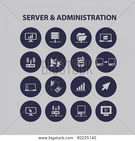 server & administration, computer interface icons, signs, illustrations set, vector