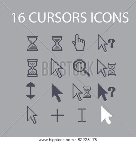 pixel cursors, select, search, question, interface icons, signs, illustrations set, vector