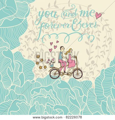 You and me forever and ever. Romantic concept background in cute colors. Couple in love on tandem bicycle inside gentle colors in vector