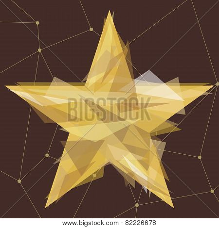 Gold star made of triangles