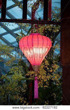 Pink Lantern Hanging In A Gazebo