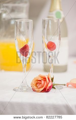 Close up of romantic breakfast at home in the kitchen