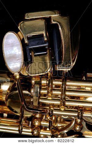 Closeup Detail Of A Soprano Saxophone