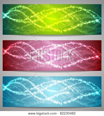 Shiny iridescent banners. Vector design