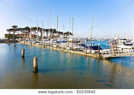 Marina In San Francisco With Boats In Beautiful Weather
