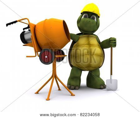 3D render of a tortoise builder with cement mixer