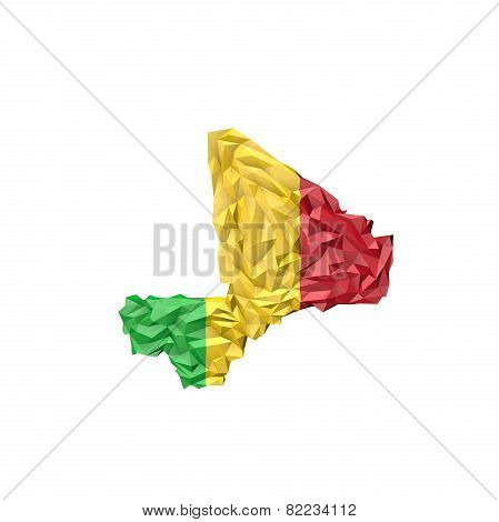 Low Poly Mali Map With National Flag