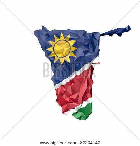 Low Poly Namibia Map With National Flag