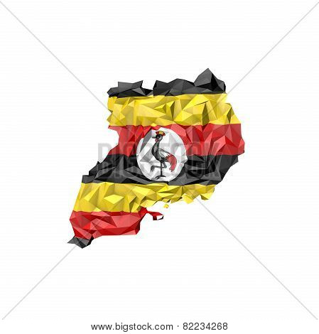 Low Poly Uganda Map With National Flag