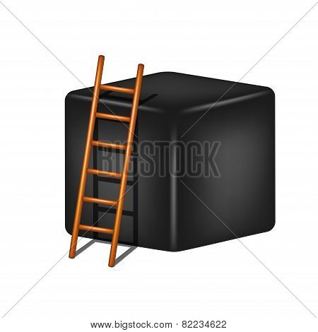Black cube and wooden ladder
