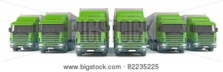 Six Green Cargo Trucks Parked In A Row