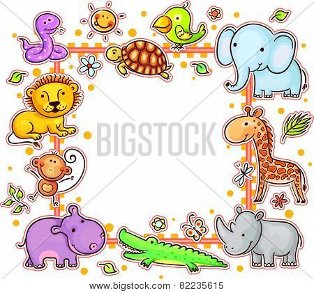 Square Frame with Wild Animals