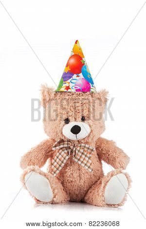 Party Teddy Bear On White