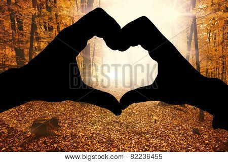 Couple making heart shape with hands against autumnal forest