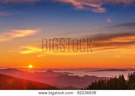 Majestic Mountains Landscape Under Morning Sky With Clouds