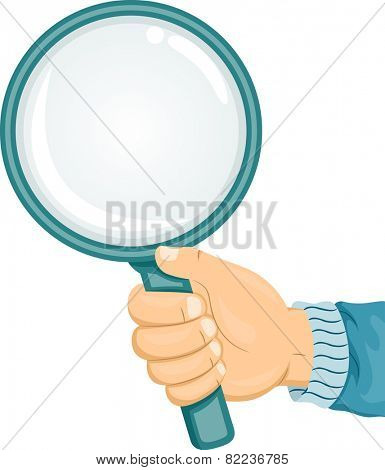 Illustration of a Caucasian Hand Holding a Magnifying Glass
