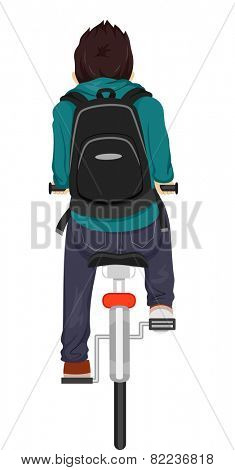 Back View Illustration of a Teenage Boy Riding on His Bike