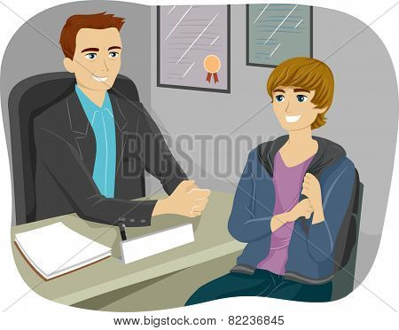 Illustration of a Teenage Boy Consulting Their Guidance Counselor