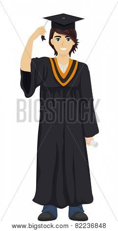 Illustration of a Teenage Boy Wearing a Graduation Toga and Cap