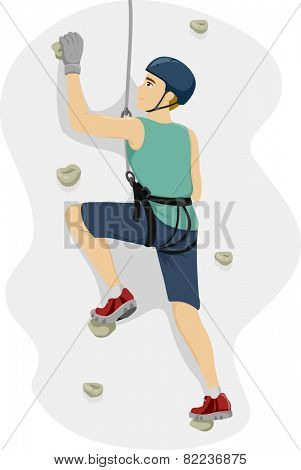 Illustration of a Teenage Boy in a Harness Climbing a Wall