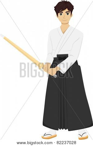 Illustration of a Teenage Boy Wearing Kendo Uniform Holding a Bamboo Stick