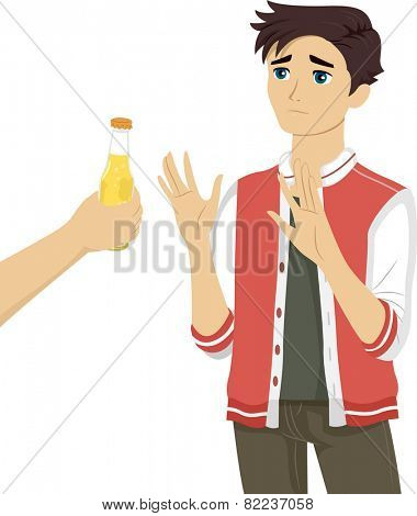 Illustration of a Teenage Boy Refusing the Bottle of Beer Being Offered to Him