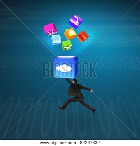 Man Hitting Cloud Box Illuminated App Icons With Tech Background