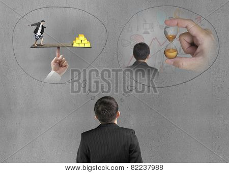 Businessman Imagining Work Situation With Concrete Wall
