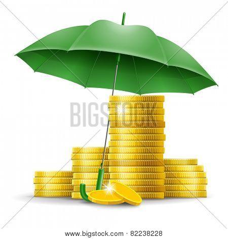 Four stacks of golden coins under an green umbrella