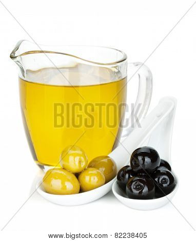 Green and black olives and olive oil. Isolated on white background