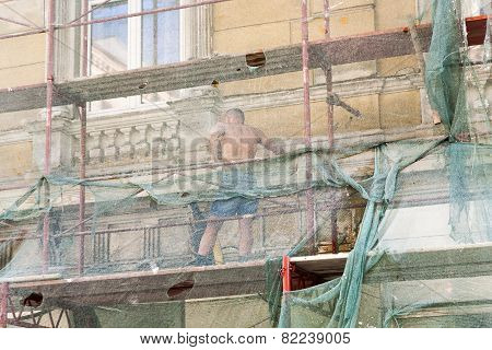 Man Restores Facade Of Buildings Of The 19Th Century